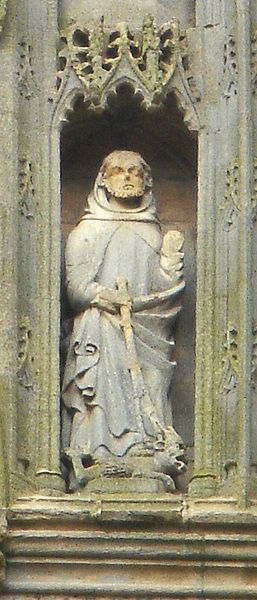 Святой Гутлак с демоном у его ног. Святой держит бич для изгнания демонов, полученный им от апостола Варфоломея (XV в., Кроулендское аббатство)