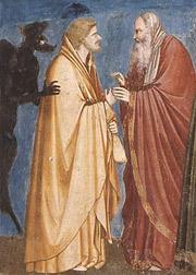 Иуда, получающий плату за предательство . 1304—06. Джотто ди Бондоне