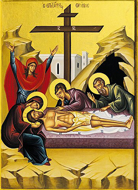 Holy Friday, the burial of Jesus Christ