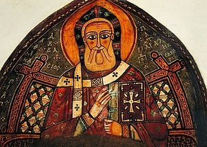 Загрузить увеличенное изображение. 400 x 284 px. Размер файла 79557 b.  Свт. Афанасий Великий. Фреска собора мон-ря прп. Антония Великого в Египте. XIII в.