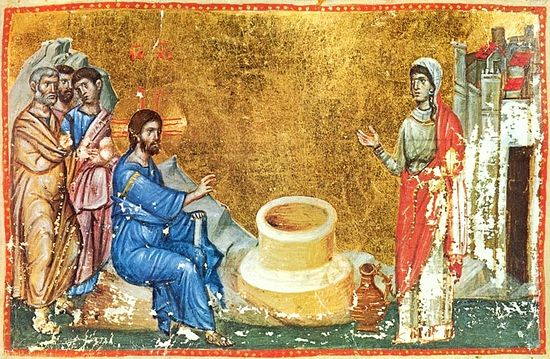 Christ and the Samaritan Woman (Jn. 4: 4 - 27). Miniature from a 13th c. Gospels