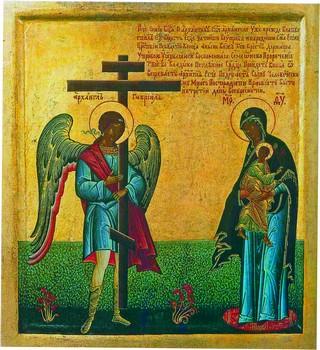 Архангел Гавриил показывает Богоматери крест. Россия. XIX век