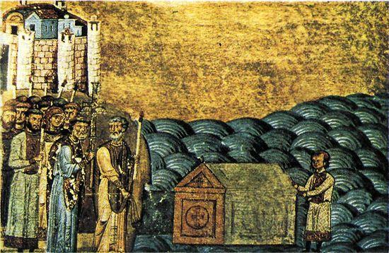 Обретение мощей священномученика Климента, папы Римского близ Херсонеса. Миниатюра из Менология императора Василия II. XI в.