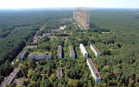 РЛС «Дуга» – станция загоризонтного обнаружения баллистических ракет. Сейчас там всё заросло лесом.РЛС «Дуга» – станция загоризонтного обнаружения баллистических ракет