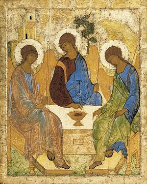 Icon of the Holy Trinity, by St. Andrei Rublev.