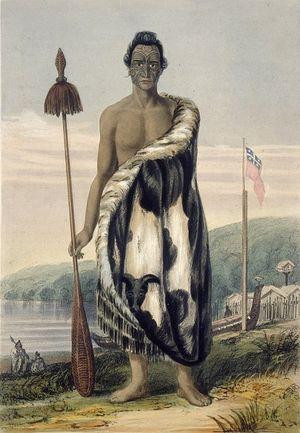 Загрузить увеличенное изображение. 485 x 700 px. Размер файла 80369 b.  Вождь маори, XIX век
