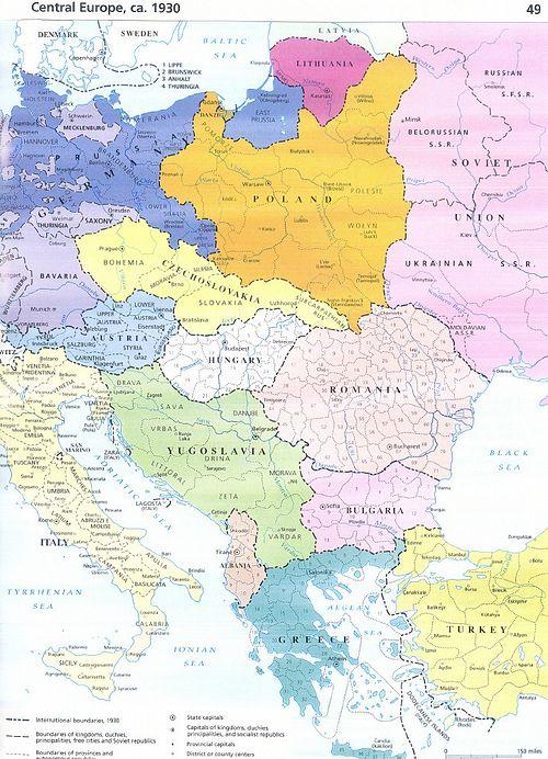 Загрузить увеличенное изображение. 732 x 1000 px. Размер файла 430706 b.  Карта Европы в 1930 г.
