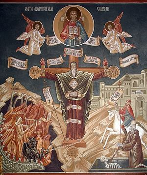 Загрузить увеличенное изображение. 500 x 593 px. Размер файла 166429 b. Духовная брань монаха. Фрагмент внутренней росписи храма монастыря Петру Вода