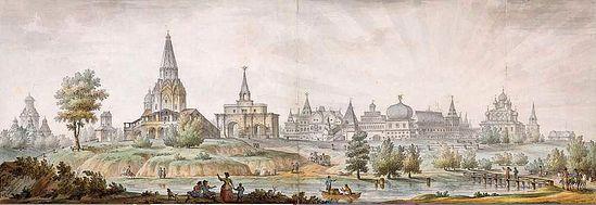 Загрузить увеличенное изображение. 1000 x 344 px. Размер файла 83994 b.  Дж.Кваренги. Панорама сел Коломенское и Дьяково. 1795 г.