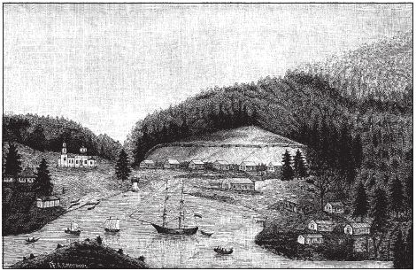 Kodiak harbor as it looked during St. Herman's time. The Resurrection Church is at left.