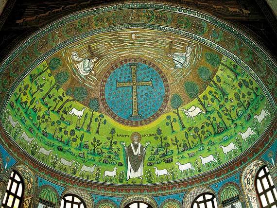 Базилика Сан Аполлинаре ин Классе. Рим, Италия. Мозаика апсиды, 549 г.