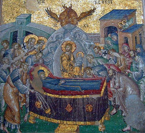 The Dormition of the Mother of God. Mosaic.