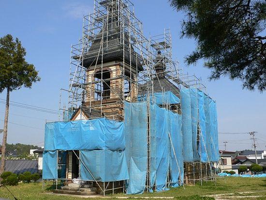 Начало восстановительных работ в храме Каннари (май 2011 года)
