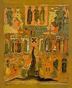Происхождение честных древ Животворящего Креста Господня. Строгановская Школа. Начало XVII века