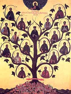 Icon of the Synaxis of the Saints of Aetolia, with St. Cosmas in the center.