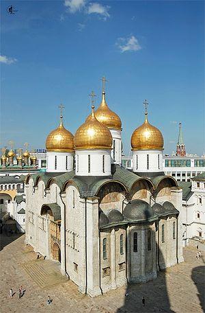 Загрузить увеличенное изображение. 526 x 800 px. Размер файла 448928 b.  The Cathedral of the Dormition in the Moscow Kremlin. Photo: S.Vlasov / Patriarchia.Ru