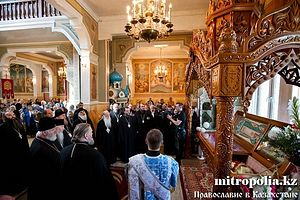 Moleben before the relics of Holy Hieromartyr Nicholas of Alma Ata, in the St. Nicholas Cathedral, Alma Ata.