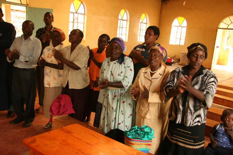 Hope for the Kikuyu.  The people in the rural villages meet the guests of their parish with traditional songs of the Kikuyu.  Photo: Denis Makhanko