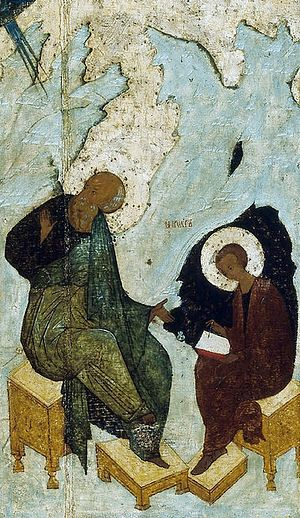 St. John the Theologian dictating Revelations to St. Procorus.