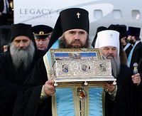 Архиепископ Нижегородский и Арзамасский Георгий встречает святыню.