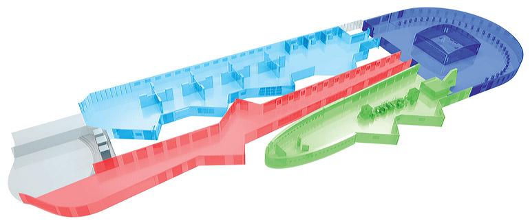 Загрузить увеличенное изображение. 1200 x 506 px. Размер файла 97558 b.  Схема Большого выставочного зала московского Манежа, переделанного под выставку