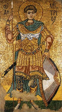 Дмитрий Солунский. Мозаика собора Архангела Михаила Михайловского Златоверхого монастыря
