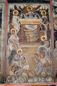 Загрузить увеличенное изображение. 600 x 903 px. Размер файла 185523 b.  Сюжет из Откровения Иоанна Богослова. Фреска XVI в.