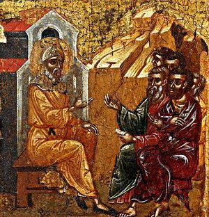 Преподобный Антоний беседует с людьми. Фрагмент иконы XVI в.