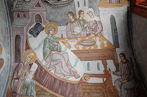 Рождество Богородицы. Фреска XVII в. из часовни Иоанна Предтечи