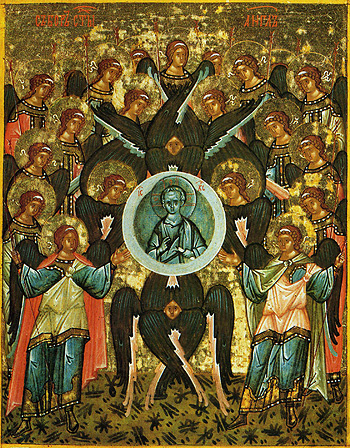 Synaxis of Archangel Michael and all the Bodiless Powers of Heaven. Novgorod School.