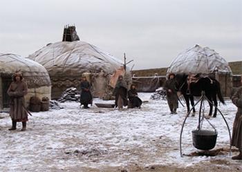 На съемках фильма. Астраханская область, декабрь 2010.