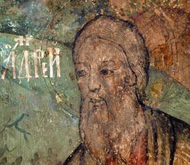Апостол Андрей. Фреска собора Сретения Владимирской иконы Божией Матери. Сретенский монастырь