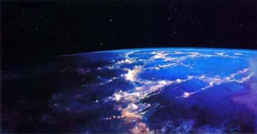 """Такой увидел Землю космонавт-художник. """"Над терминатором"""" (границей дня и ночи) - одна из картин Алексея Леонова"""
