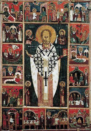 Загрузить увеличенное изображение. 700 x 1009 px. Размер файла 497373 b.  Икона святого Николая чудотворца с клеймами