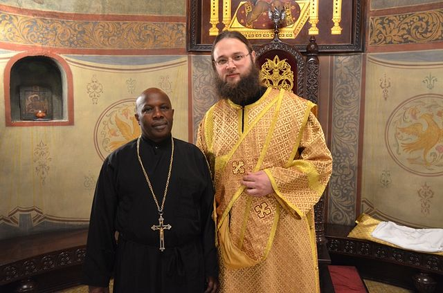 Fr. Phillip Gatari and Hierodeacon Seraphim, Sretensky Monastery. Photo: Hieromonk Ignaty (Shestakov)