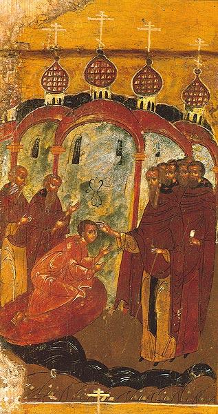 Фрагмент иконы прп. Александр Куштский с житием