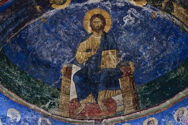 Спас-Вседержитель. Фреска из Спасо-Мирожского монастыря