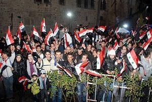 Акция в Дамаске против агрессии вооружённых группировок, последним преступлением которых стали теракты в сирийской столице. Фото: SANA