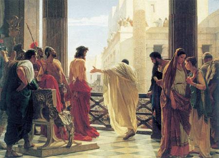 И поднялось все множество их, и повели Иисуса к Пилату, и начали обвинять Его, говоря: мы нашли, что Он развращает народ наш и запрещает давать подать кесарю, называя Себя Христом Царем