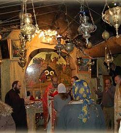Причащение на литургии на месте Рождества Христова