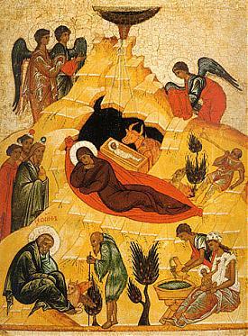Рождество Христово, древнерусская икона XV в.