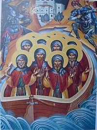 Загрузить увеличенное изображение. 600 x 800 px. Размер файла 138355 b.  Четырнадцать иверских священномучеников (современная фреска, трапезная монастыря Кутлумуш)