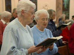 Catholic nuns hold a prayer service against human trafficking.