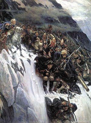 Загрузить увеличенное изображение. 590 x 800 px. Размер файла 205201 b.  В.Суриков.Переход Суворова через Альпы в 1799 году.
