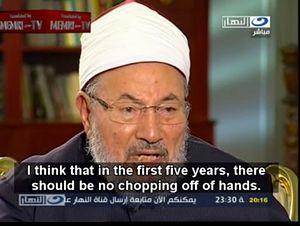 """""""Я думаю, первые пять лет не должно быть отрубания рук"""", - сказал суннитский богослов, расказывания о своем видении введения шариата в Египте"""