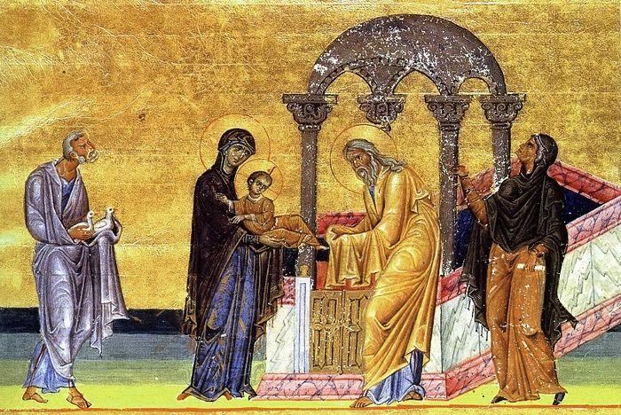 Сретение Господне. Миниатюра Менология Василия II, первая четверть XI в Библиотека Ватикана (Vat. gr. 1613)