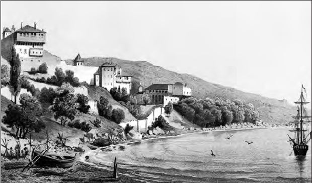 The Monastery of St. Panteleimon as it appeared in the 19th century.
