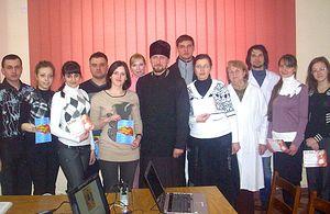 Протоиерей Никита Заверюха на встрече со студентами.