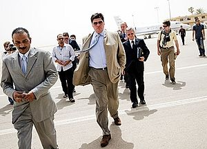 Russian envoy to Africa, Mikhail Margelov (C), arrives at Benghazi airport on June 7, 2011 for meetings with Libyan rebel leaders in the first trip by a top Russian official to their stronghold. Source: AFP/East News