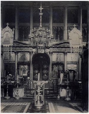 Загрузить увеличенное изображение. 621 x 800 px. Размер файла 89382 b.  Фото 1923 г. Иконостас Владимирского собора Сретенского монастыря